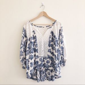 Free People Blue Floral Lace BOHO Blouse